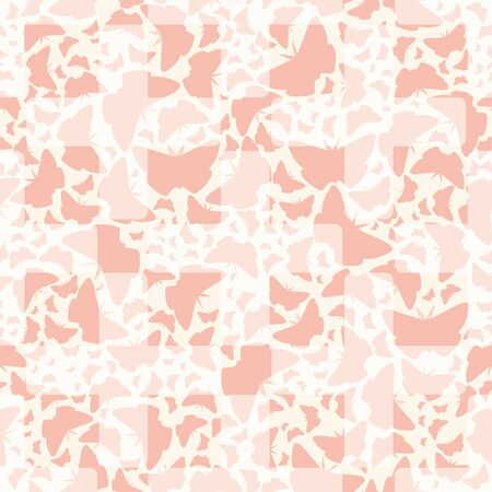 Seamless pattern with pastel pink butterflies and plus signs. Monochromatic vector illustration for back to school supplies, wallpaper, backdrop, textile, scrapbooking and gifts.