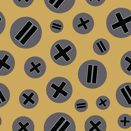 Vector illustration of stylized math symbols on dotted background. Seamless pattern for back to school supplies, textile, gifts, wallpaper and scrapbooking.