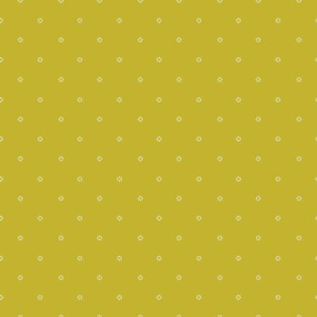 Seamless repeat pattern. Vector illustration of small cream flowers on lime green background.