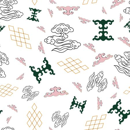 Illustration of mongolian traditional symbols, motifs, stylized clouds and knots on white background. Geometric pattern. Stock Photo