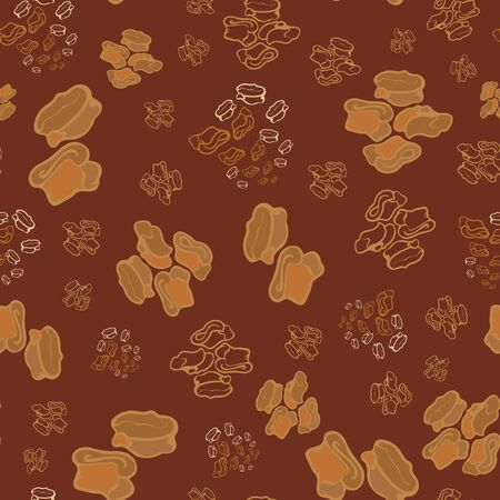 Seamless repeat pattern. Vector illustration of stylized sheep ankle bones in beige, brown, orange and cream. Mongolian traditional good luck charm motifs.