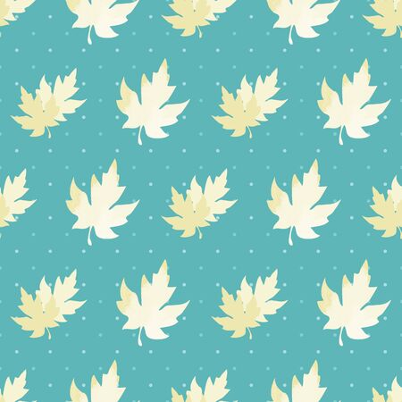 Illustration of stylized maple leaves and polka dots in shades of aqua, yellow and cream. Seamless pattern, vector background for gifts, posters, flyers, wallpaper, textile, fabric and scrapbooking.