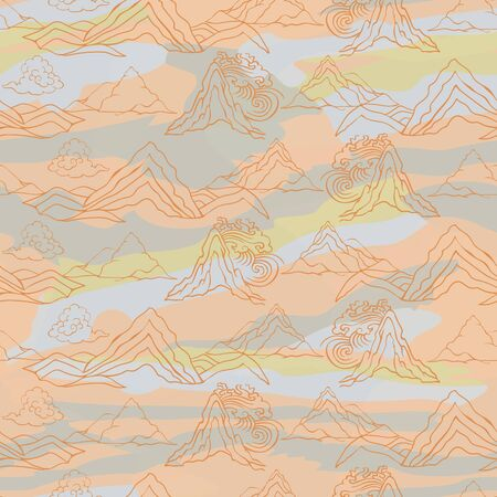 Seamless illustration of landscape with stylized mountains, winds and clouds in asian style. Vector pattern in shades of cream, sage, grey and white. Designed for scrapbooking, wallpaper, gift wraps, fabric, home decor.