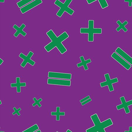 Vector illustration of stylized math symbols on purple background. Seamless pattern for back to school supplies, textile, gifts, wallpaper and scrapbooking. Reklamní fotografie