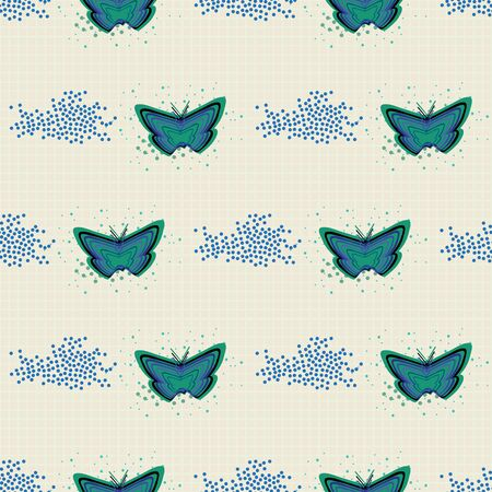 Seamless pattern with striped butterflies and scattered dots on grid background. Vector illustration in shades of green, purple, blue, white and cream for back to school supplies, textile, gifts, wall