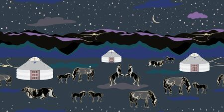 Seamless illustration of mongolian traditional family gers, relaxing and playful horses in different poses, mountains, stars, moon and clouds in a night landscape of Mongolia. Vector pattern in shades of lilac, purple, green, indigo, grey and black. Designed for scrapbooking, wallpaper, gift wraps, fabric, home decor.
