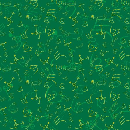 Vector illustration of stylized cave drawings in shades of green. Isolated from background. Monochromatic seamless pattern for gifts, posters, flyers, wallpaper, textile, fabric and scrapbooking.