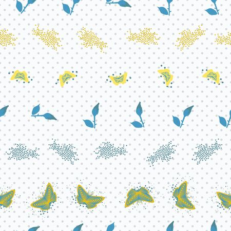 Seamless pattern with striped butterflies, splatters and dots. Vector illustration in aqua, yellow and white.