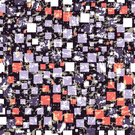 Abstract seamless repeat pattern. Lilac, white and coral rectangles on grunge camouflage texture in earth tones. Beautiful vector illustration.