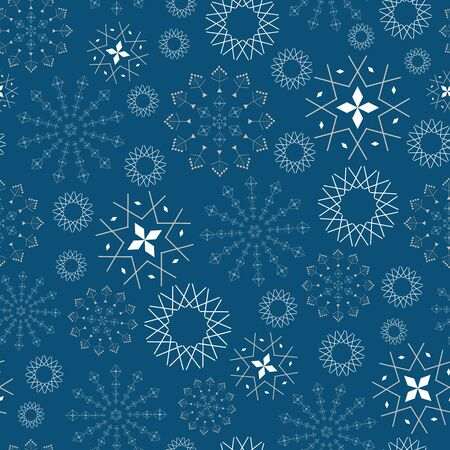 Abstract seamless pattern with snowflakes. Vector illustration in shades of blue, navy, white and grey. Ideal for gifts, paper, scrapbooking and fabric.