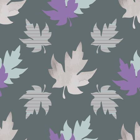 Seamless pattern with patterned leaves. Complex illustration print in aqua, purple, grey and tan