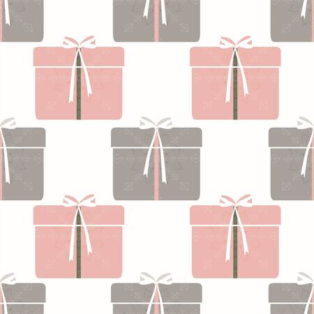 Seamless abstract retro geometric pattern. Illustration of pink, grey, sage and gift boxes, wraps, ribbons and bows on white background. Ideal for fashion, gift, paper, scrapbooking and fabric.