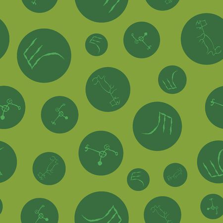 Vector illustration of cave drawings, ancient scripts and circles. in shades of green, lime, chartreuse. Isolated from background. Seamless pattern for gifts, posters, flyers, wallpaper, textile, fabr
