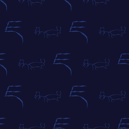 Vector illustration of cave drawings and ancient scripts in shades of indigo and navy. Isolated from background. Seamless pattern for gifts, posters, flyers, wallpaper, textile, fabric and scrapbookin  イラスト・ベクター素材