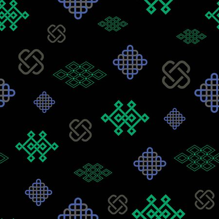 illustration of traditional symbol and ornaments. Seamless repeat pattern.