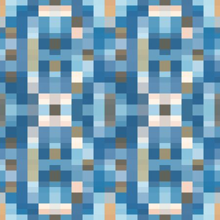 Abstract seamless pattern with layered squares, blocks and tiles. Vector illustration in shades of blue, pink, sage, grey and white Фото со стока