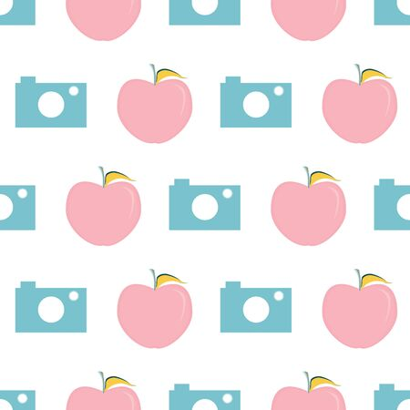 Vector illustration of cameras and apples on white background. Seamless pattern for back to school supplies, textile, gifts, wallpaper and scrapbooking.