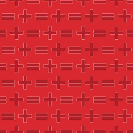 Vector illustration of math symbols on red background. Seamless pattern for back to school supplies, textile, gifts, wallpaper and scrapbooking.