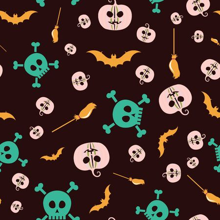 Halloween vector background with pumpkins, bats, brooms and skulls in soft pink, amber, mint and aubergine. Seamless pattern for fabric, textile, gifts, wallpaper and scrapbooking.