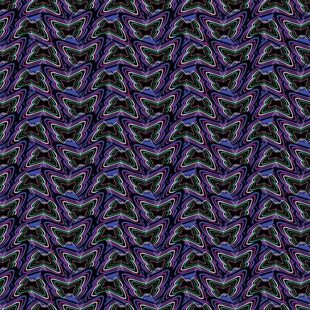 Seamless pattern with striped butterflies and warped vertical lines. Vector illustration in purple, aqua, green and lilac.
