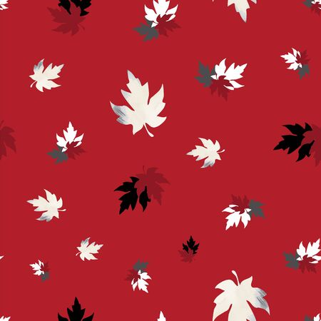 Illustration of stylized maple leaves with red, white, grey, black colors and stripes. Seamless pattern, vector background for gifts, posters, flyers, wallpaper, textile, fabric and scrapbooking. Stock fotó