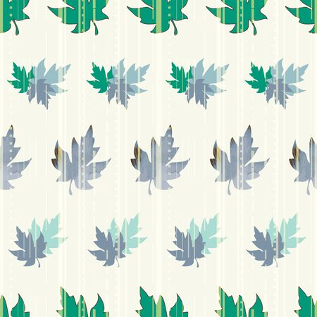 Illustration of stylized maple leaves with solid green, mint, whte colors and stripes. Seamless pattern, vector background for gifts, posters, flyers, wallpaper, textile, fabric and scrapbooking.