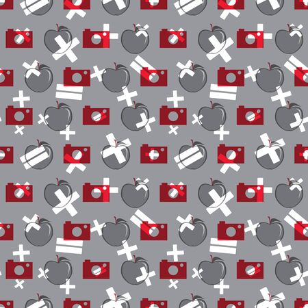 Vector illustration of cameras, apples and math symbols on neutral background. Seamless pattern for back to school supplies, textile, gifts, wallpaper and scrapbooking.
