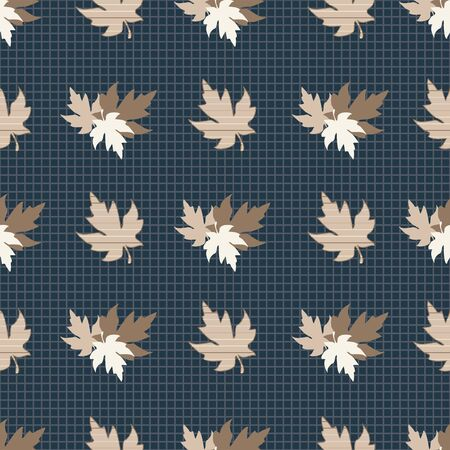 Illustration of stylized maple leaves in tan, black, white, grey and cream on charcoal grid background. Seamless pattern, vector background for gifts, posters, flyers, wallpaper, textile, fabric and scrapbooking. Illusztráció
