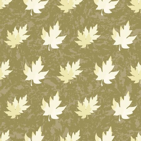 Illustration of stylized maple leaves with yellow, mint, sage, olive colors and textures. Seamless pattern, vector background for gifts, posters, flyers, wallpaper, textile, fabric and scrapbooking. Stock fotó