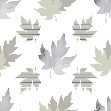 Illustration of stylized maple leaves with sage, mint, yellow, grey colors and stripes. Seamless pattern, vector background for gifts, posters, flyers, wallpaper, textile, fabric and scrapbooking.