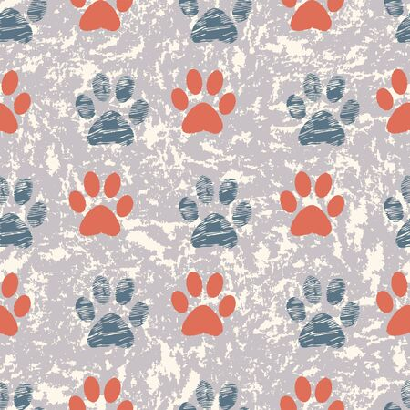 Seamless repeat pattern. Vector Illustration of cats and dogs paw prints in geometric layout on textured scratch background. Perfect for gifts, background, fabric and scrapbooking. Stock Photo