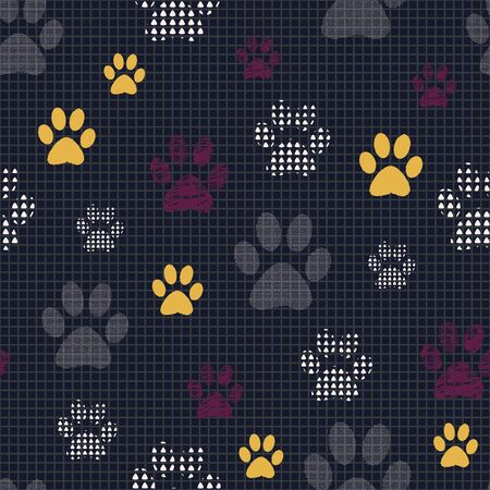 Complex illustration print in yellow, burgundy, white, grey and black. Seamless pattern with cats and dogs paw prints on grid background. Perfect for gifts, wallpaper, fabric and scrapbooking.