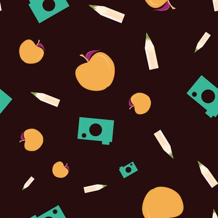 Vector illustration of cameras, pencils, apples and eraser symbols on dark background. Seamless pattern for back to school supplies, textile, gifts, wallpaper and scrapbooking. 写真素材