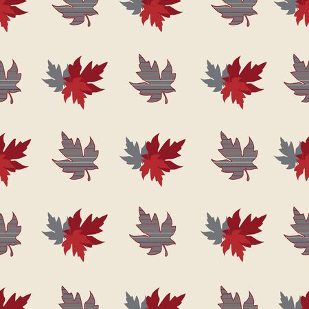 Illustration of stylized maple leaves in solid grey, red, cream, burgundy and stripes. Seamless pattern, vector background for gifts, posters, flyers, wallpaper, textile, fabric and scrapbooking.