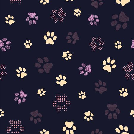 Complex vector illustration print in cream, burgundy, lilac, grey and black. Seamless pattern with cats and dogs paw prints on grid background. Perfect for gifts, wallpaper, fabric and scrapbooking.