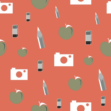 Vector illustration of cameras, apples and eraser symbols on bright coral background. Seamless pattern for back to school supplies, textile, gifts, wallpaper and scrapbooking.