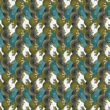 Seamless abstract retro geometric pattern. Illustration of mint, chartreuse, sage, seaweed, olive and white elements and swirly waves. Ideal for fashion, gift, paper, scrapbooking and fabric.