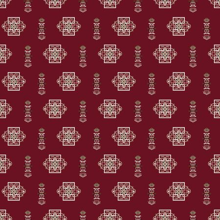 Vector Illustration of stylized traditional ornaments and motifs. Mongolian jewelry motifs in burgundy, tan, grey and cream. Seamless pattern for gifts, posters, flyers, wallpaper, textile, fabric and scrapbooking.