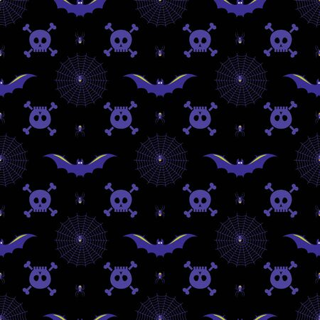 Halloween vector background with spiders, bats, spiderwebs and skulls in purple, yellow and black. Seamless pattern for fabric, textile, gifts, wallpaper and scrapbooking.