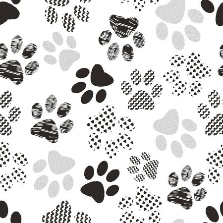 Illustration of cats and dogs paw prints with geometric patterns. Perfect for gifts, background, fabric and scrapbooking.