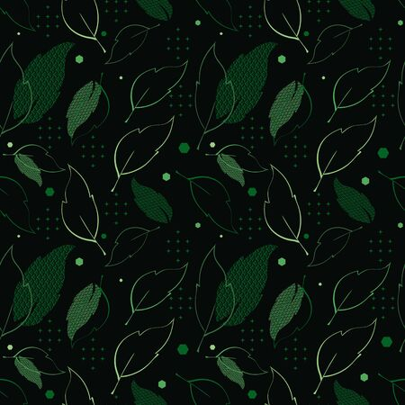 Illustration of leaves with waves, stars, warped stripes and hexagons. Perfect for gifts, background, fabric and scrapbooking.