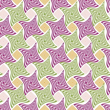 Vector illustration of warped, blended rhombuses in checkered geometric layout layered with distorted stripes. Seamless repeat pattern for gift wrap, textile, fabric, scrapbooking and fashion.