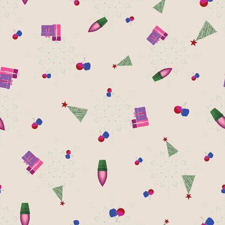 Abstract seamless pattern with christmas lights and ornaments. Vector illustration in shades of cream, red, green and purple. Ideal for gifts, paper, scrapbooking and fabric.