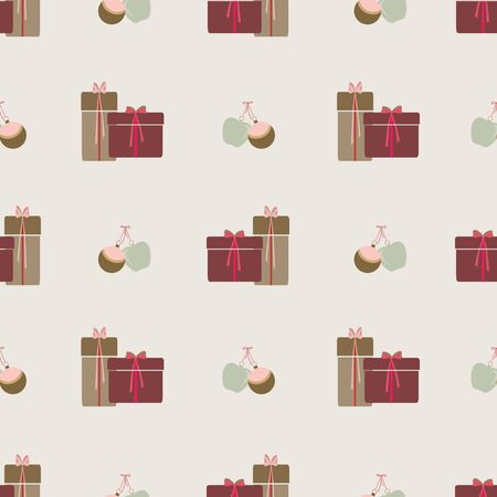 Abstract seamless pattern with christmas gifts, ornaments and apples. Vector illustration in shades of cream, red, pink, green and olive. Ideal for gifts, paper, scrapbooking and fabric. Stok Fotoğraf
