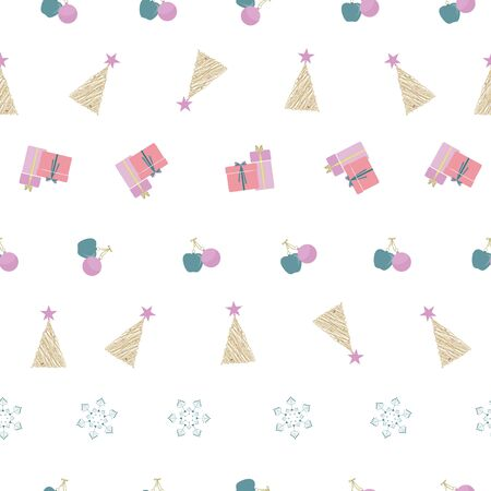 Abstract seamless pattern with christmas gifts, ornaments, trees, snowflakes and apples. Vector illustration in shades of cream, red, pink, green and olive. Ideal for gifts, paper, scrapbooking and fabric.