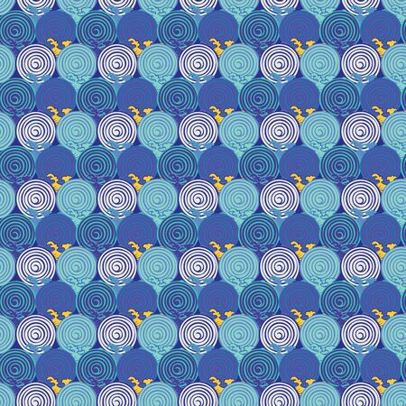 Seamless abstract retro geometric pattern. Circle elements in geometric rows.