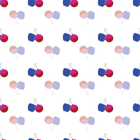 Abstract seamless pattern with christmas gifts, ornaments and apples. Vector illustration in shades of cream, red, pink, blue on white background. Ideal for gifts, paper, scrapbooking and fabric. Stok Fotoğraf - 132532003