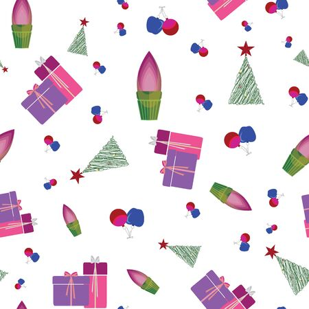 Abstract seamless pattern with christmas gifts, ornaments, trees, snowflakes and apples. Vector illustration in shades of purple, red, pink, green and blue. Ideal for gifts, paper, scrapbooking and fabric. Çizim