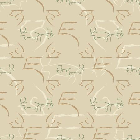 Vector illustration of cave drawings. Isolated from background. Seamless pattern for gifts, posters, flyers, wallpaper, textile, fabric and scrapbooking.