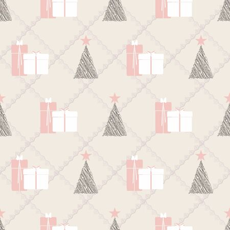 Abstract seamless pattern with christmas tree, gifts and ornaments. Vector illustration in shades of cream, coral, green and pink. Ideal for gifts, paper, scrapbooking and fabric. Stok Fotoğraf - 132532011